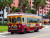 Clearwater Beach, Florida, USA 11/6/19 A trolley car parked on the side of the road used for public transportation