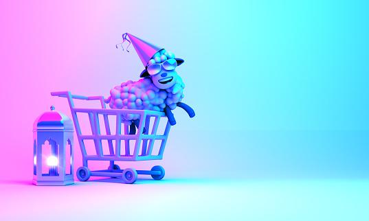 istock Trolley cart, arabic lantern, sheep, on blue pink gradient background. Design concept of islamic eid al adha sale event. 1159306978