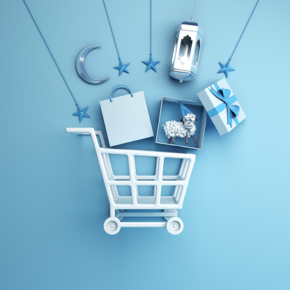 istock Trolley cart, paper bag, arabic lantern, star, gift box, sheep, crescent moon on studio lighting blue pastel background. 1160671229