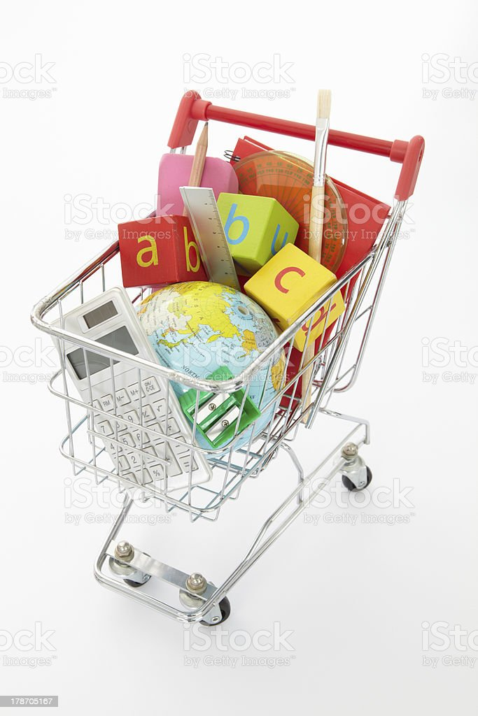 Trolley full of items for school stock photo