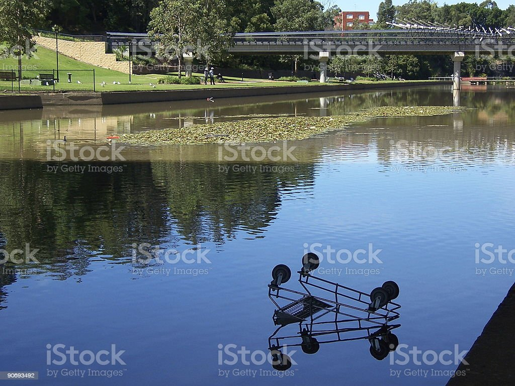 Trolley in a river stock photo
