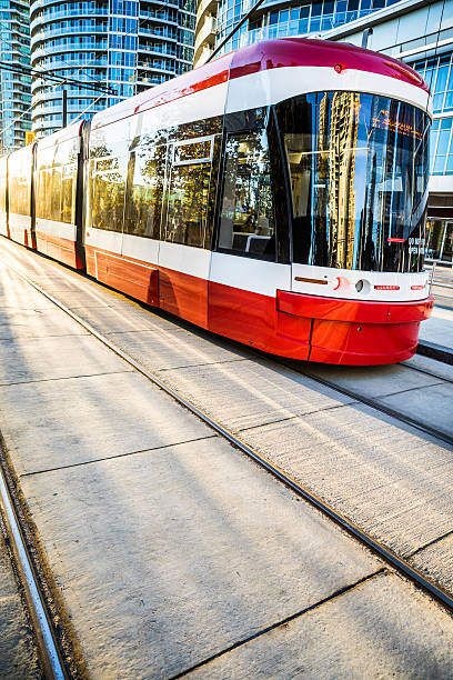 trolley in toronto - transportation in downtown - toronto streetcar stock photos and pictures