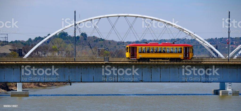 Trolley on a Bridge in Little Rock stock photo