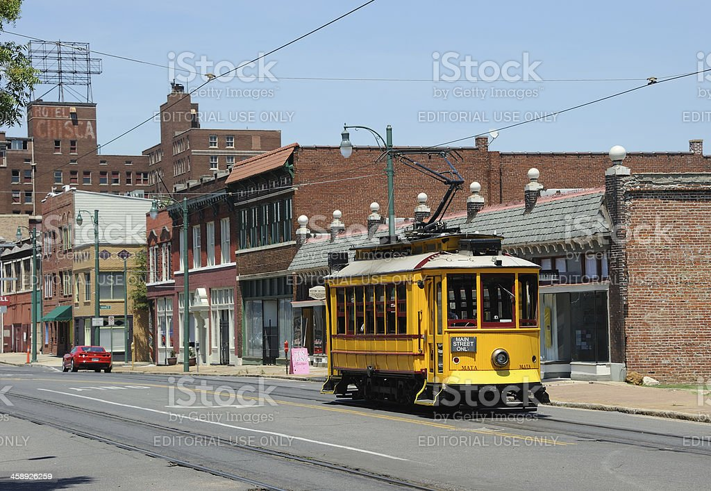 Trolley on Main Street, Memphis royalty-free stock photo