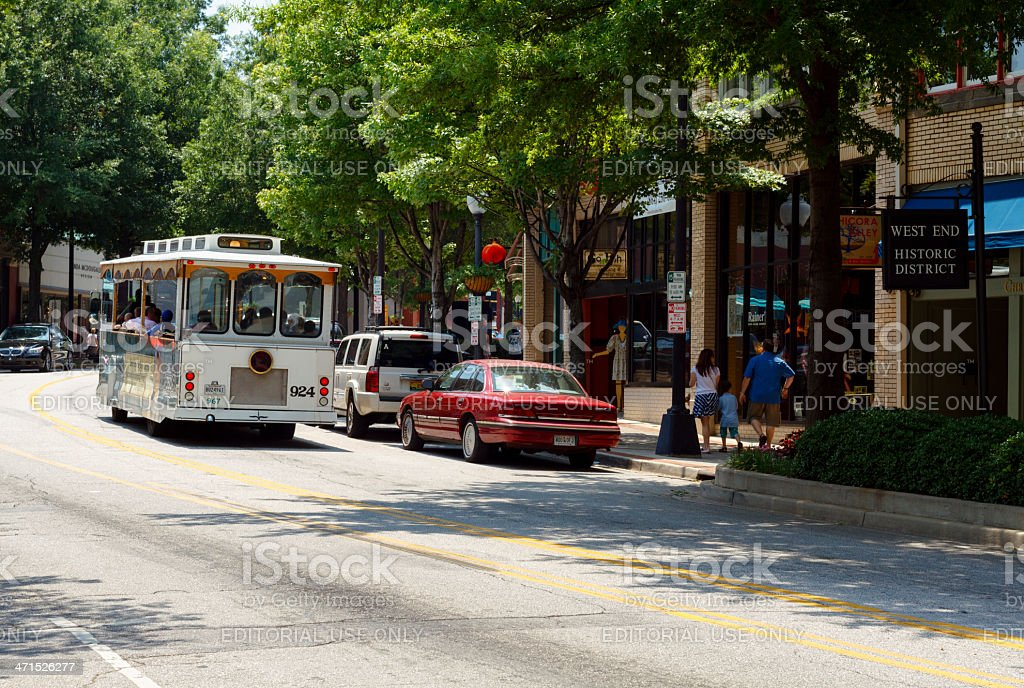 Trolley Rides Through The West End Historic District royalty-free stock photo