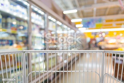 istock Trolley Shopping Cart in Hypermarket or Discount Convenience Store 893188504