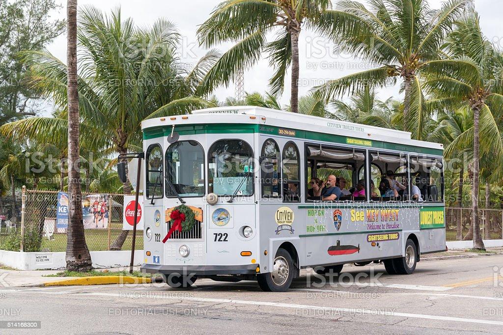 Trolley tour in Key West, Florida, USA stock photo