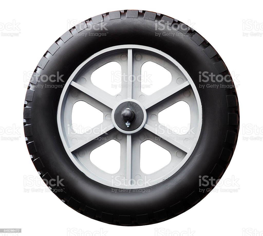 Trolley wheel isolated on white background stock photo