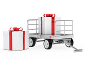 istock trolley with gift box 153369432