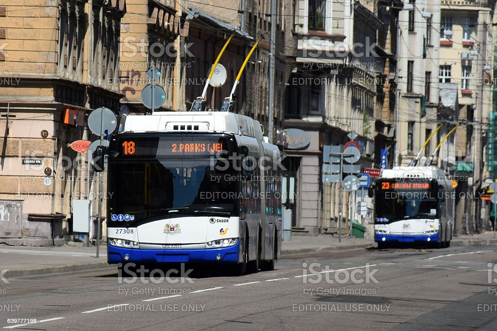 Trolleybuses in the city stock photo