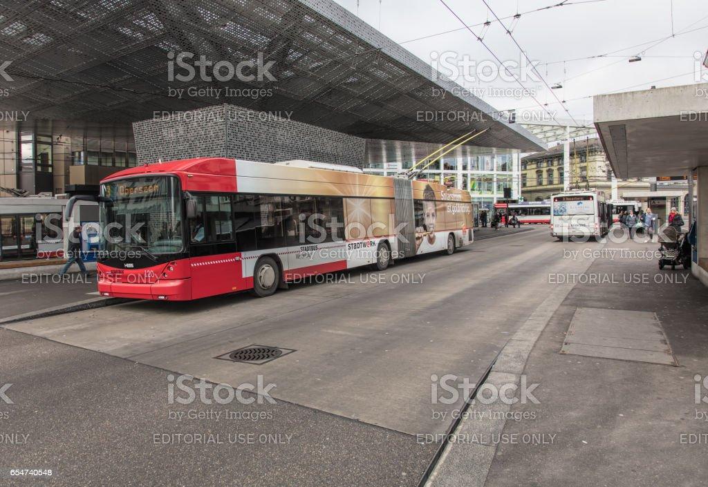 Trolleybuses in Winterthur, Switzerland stock photo
