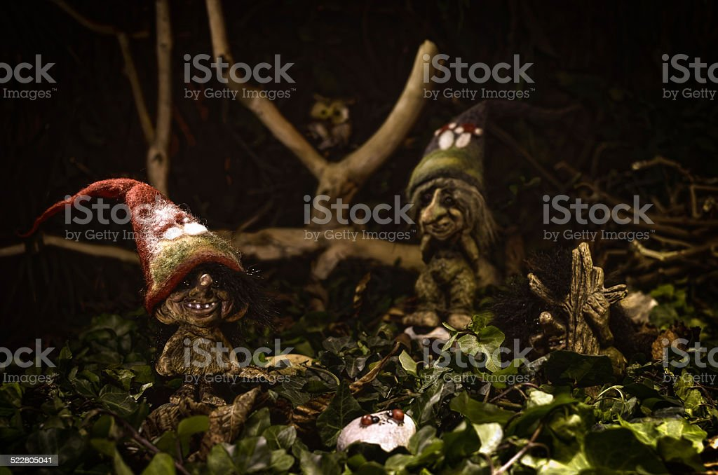 trolls in the forest stock photo