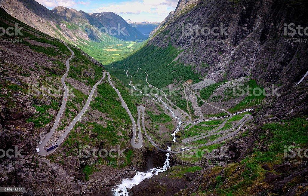 Trollstigen hairpin road stock photo