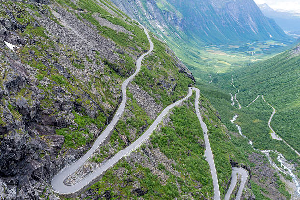 Trollstigen road between the mountains, Norway stock photo