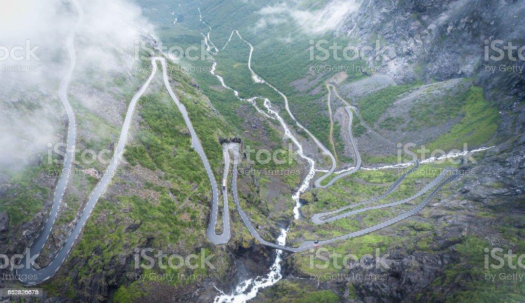 Trollstigen - the famous winding scenic mountain road in Norway, Europe. stock photo