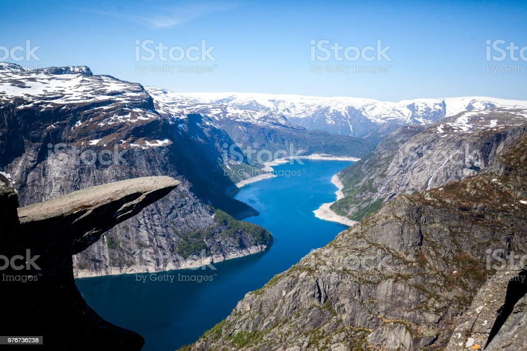 trolltunga stock photo