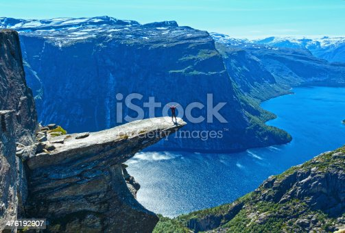 The summer view of Trolltunga (The Troll's tongue) in Odda ( Ringedalsvatnet lake, Norway) and man on rocks edge.