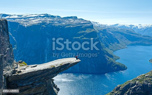 The summer view of Trolltunga (The Trolls tongue) in Odda ( Ringedalsvatnet lake, Norway).