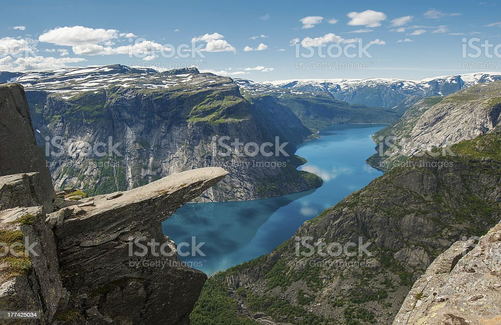 Trolltunga, Troll's tongue rock, Norway stock photo