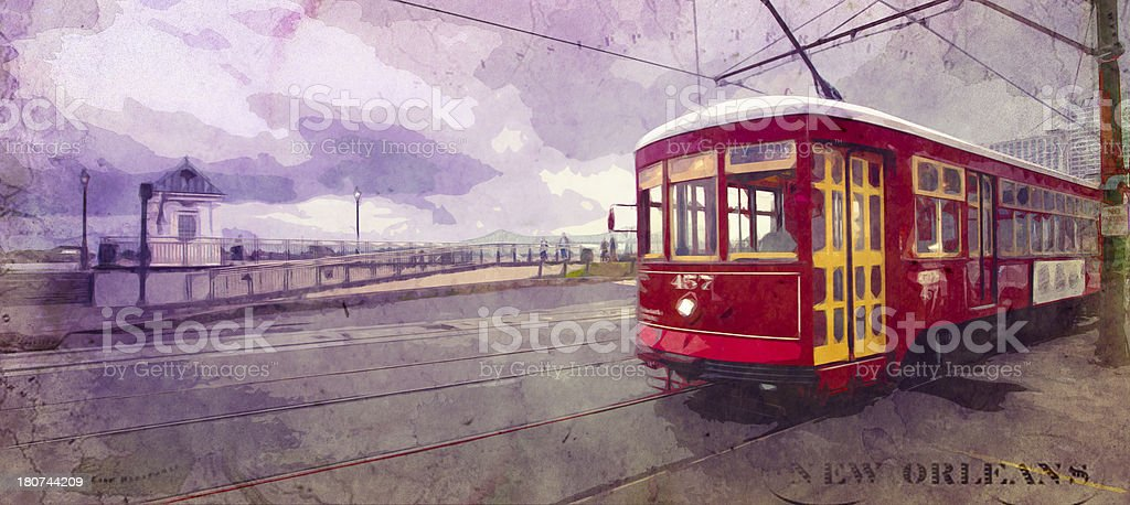 Trolly along New Orleans French Quarter royalty-free stock photo