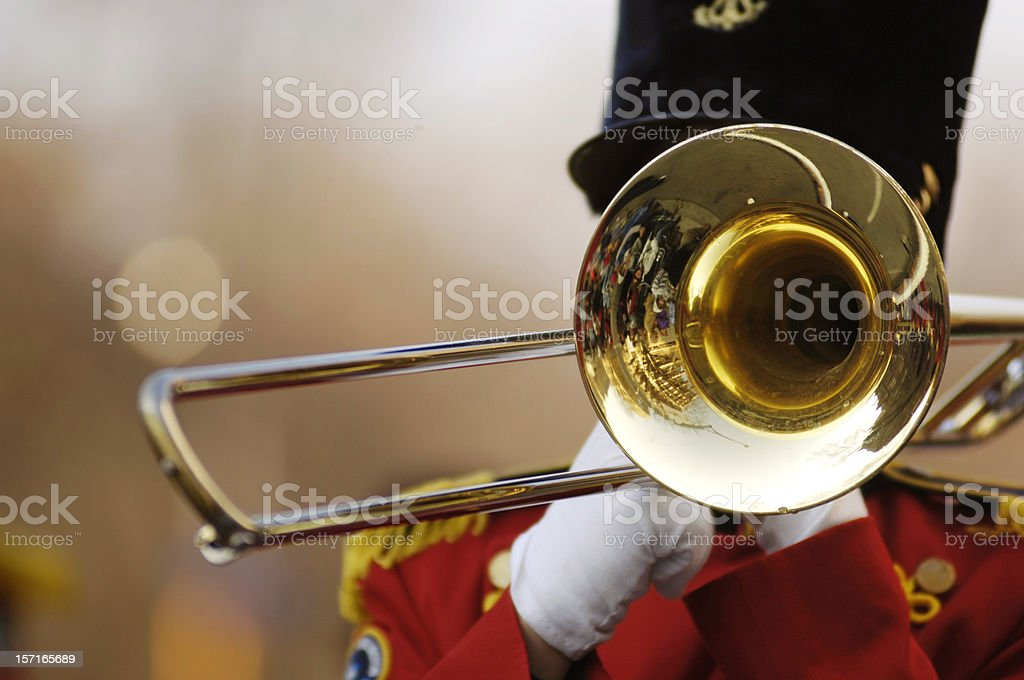 Trombone in parade stock photo