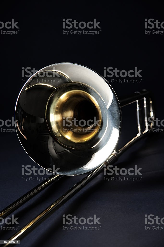 Trombone Isolated on Black Background stock photo