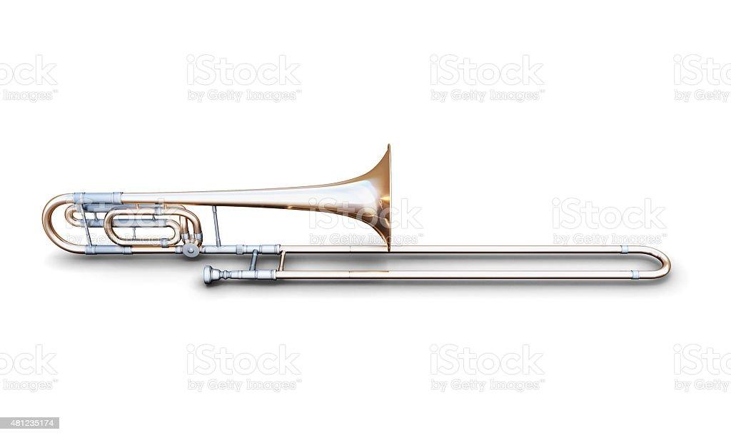 Trombone on a white stock photo