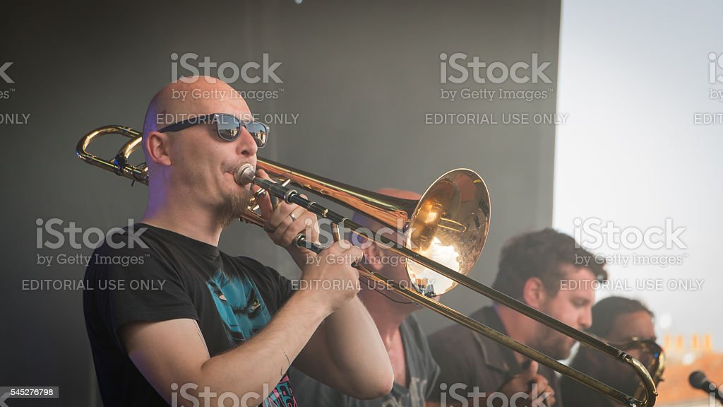 trombone player for a rock concert stock photo