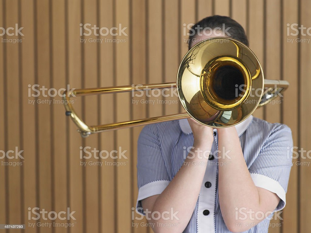 Trombone Player stock photo