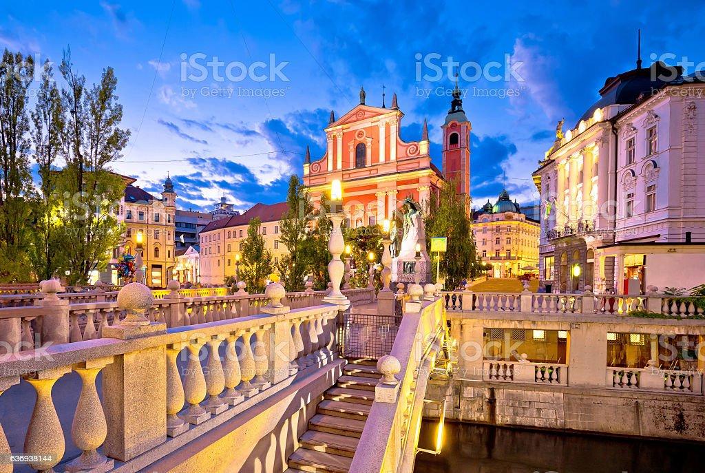Tromostovje bridge in Ljubljana evening view stock photo