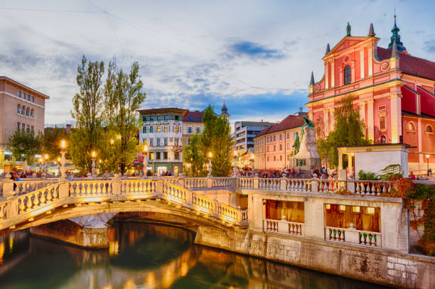 Tromostovje in the city center in the soft evening light. Ljubljana, Slovenia - September 23, 2016: Tromostovje in the city center in the soft evening light. ljubljana stock pictures, royalty-free photos & images