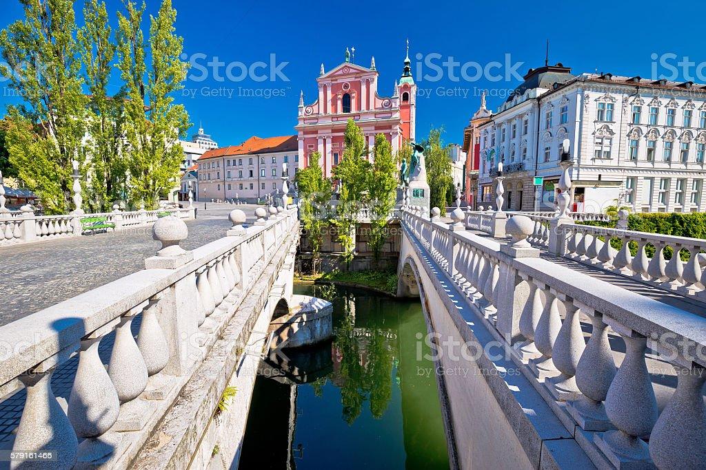 Tromostovje square and bridges of Ljubljana stock photo