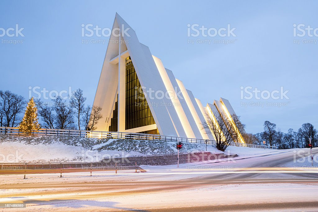 Tromso Arctic Cathedral Norway stock photo