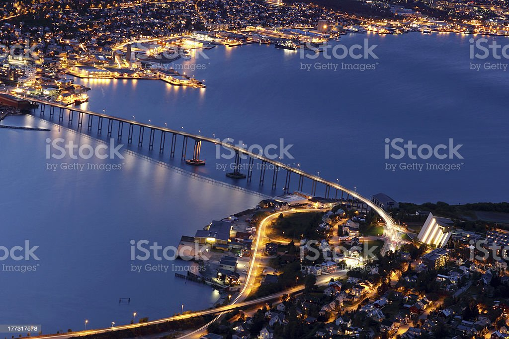 Tromso Bridge and the Arctic Cathedral by night, northern Norway stock photo