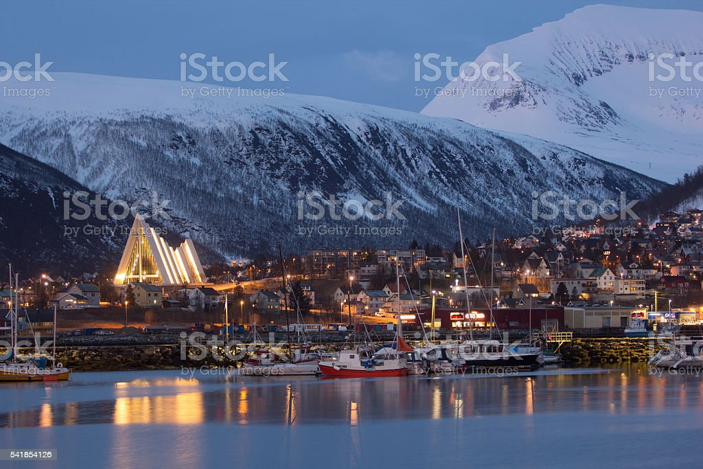 Tromso by night stock photo
