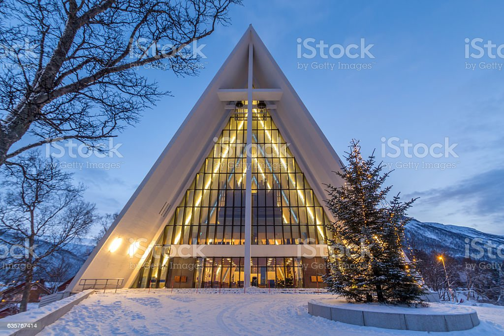 Tromso cathedral during christmas stock photo