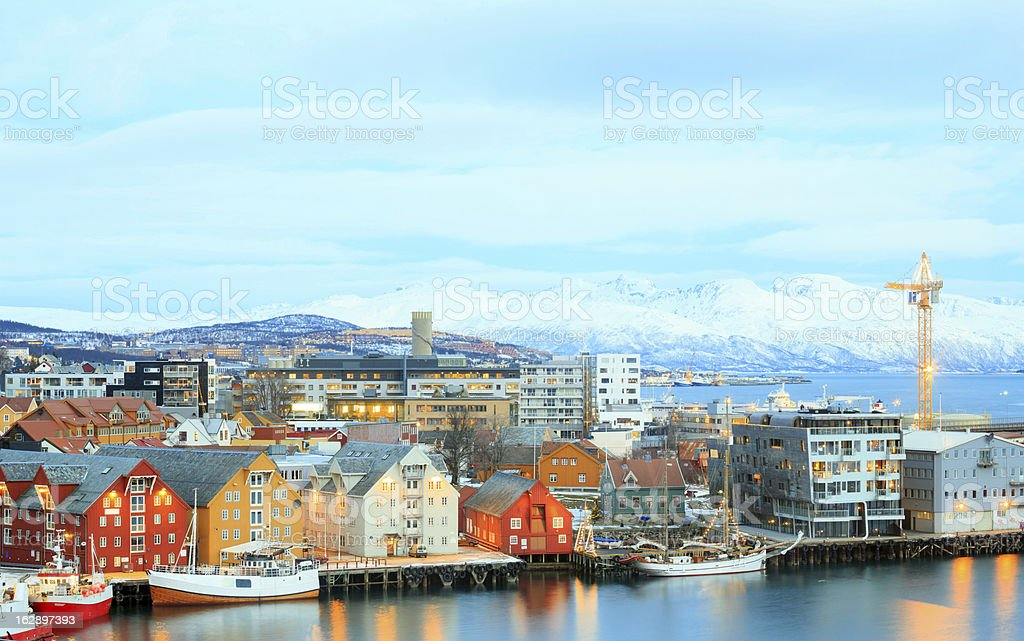 Tromso Cityscape at dusk Troms Norway stock photo