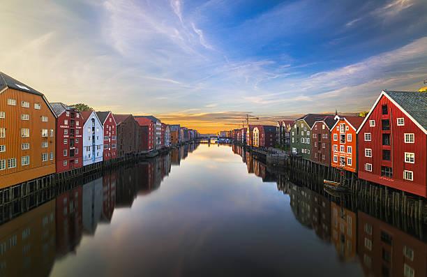 Trondheim at Sunset stock photo