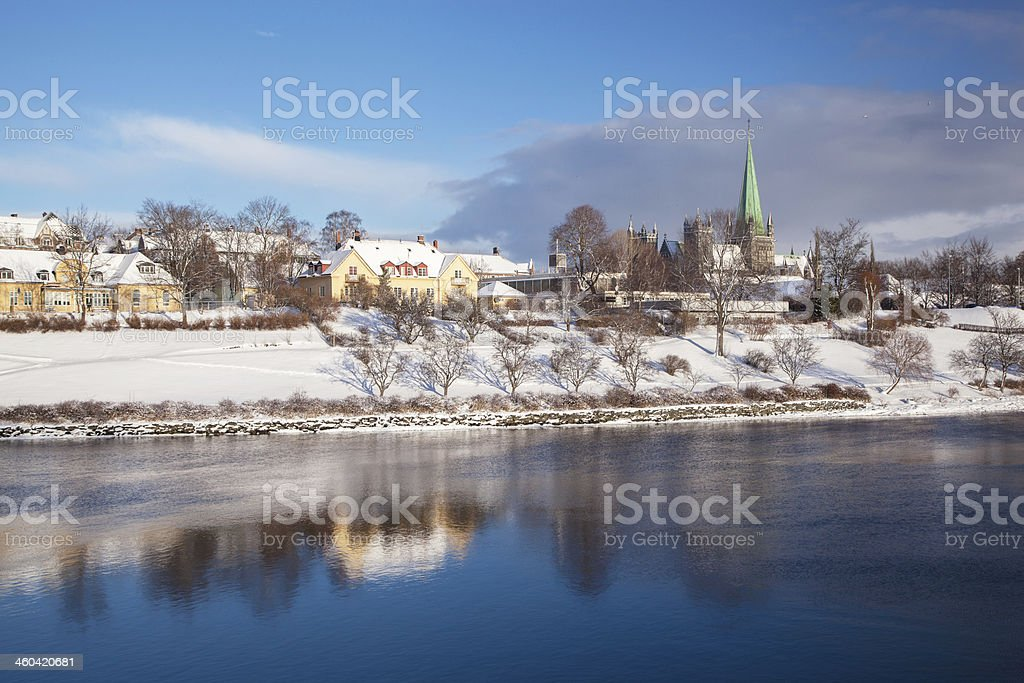 Trondheim cityscape with Nidaros cathedral Norway stock photo