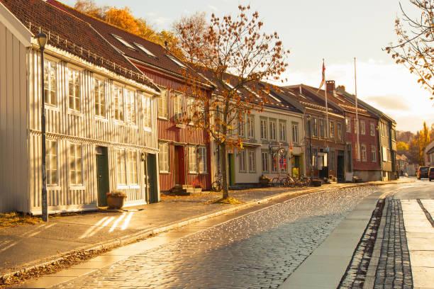 Trondheim street in autumn, Norway stock photo