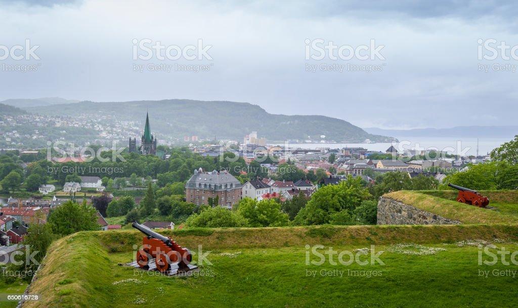 Trondheim view from Kristiansten fortress stock photo