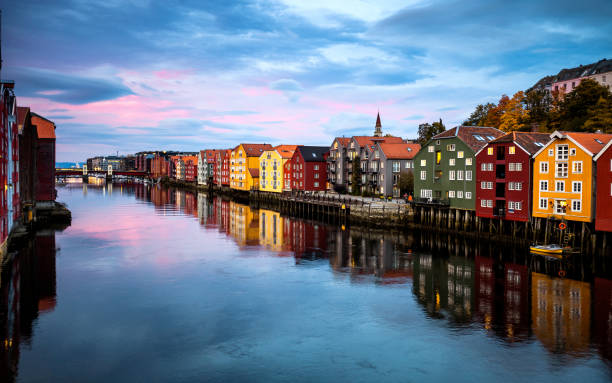 Trondheim view from Old Town Bridge - Norway stock photo