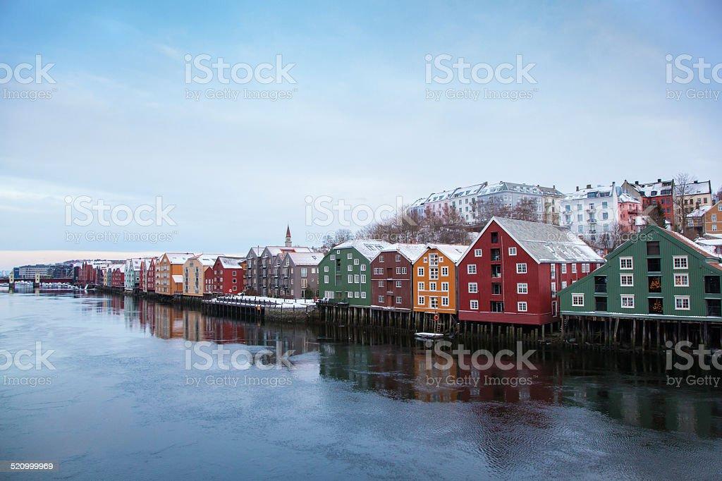 Trondheim winter cityscape Norway stock photo