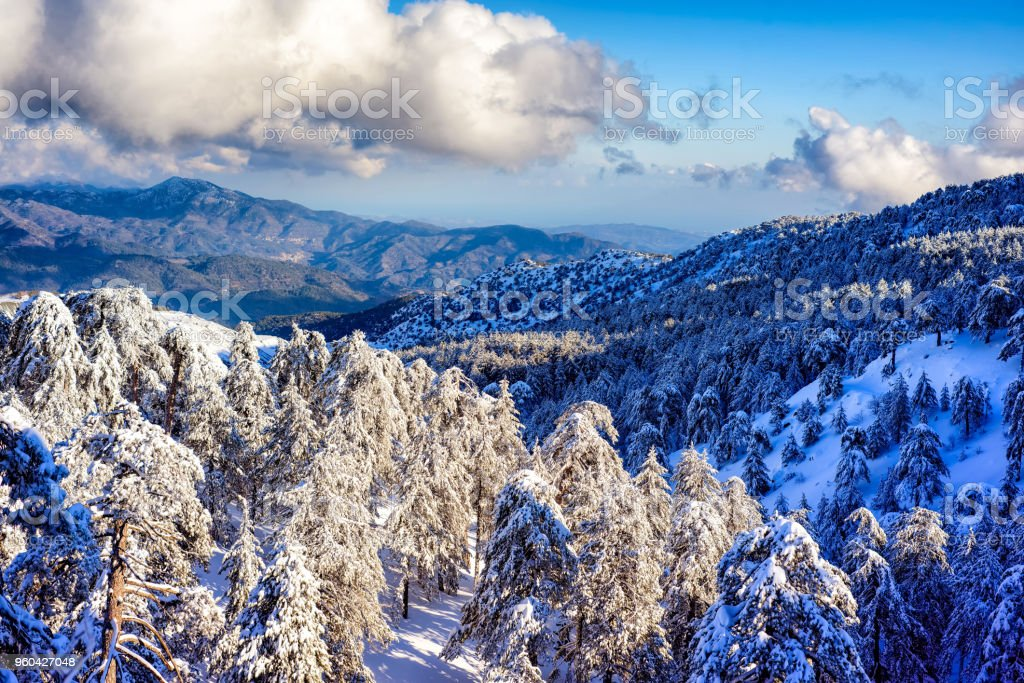 Troodos mountain range in winter. Cyprus stock photo