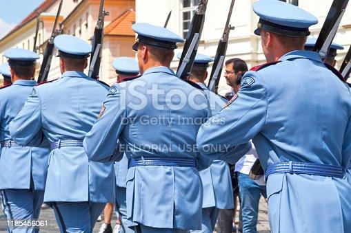 Prague, Czech Republic - June 14 2018: Troop of Prague Castle Guards at the entrance of Hradcany Castle.