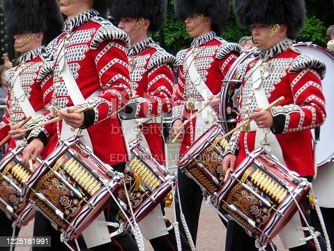 Coldstream guards marching band along The Mall for the Trooping the Colour Ceremony to mark the Queen's birthday annual ceremony in June at Horseguards Parade, London, England