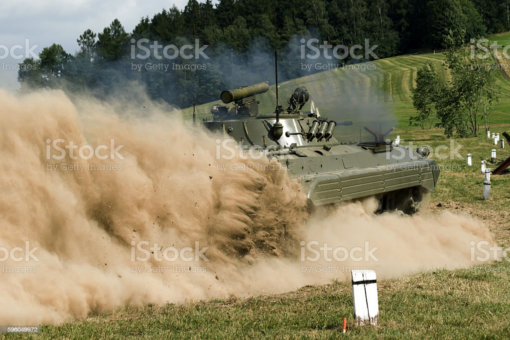 troops and equipment in the historic Battle royalty-free stock photo