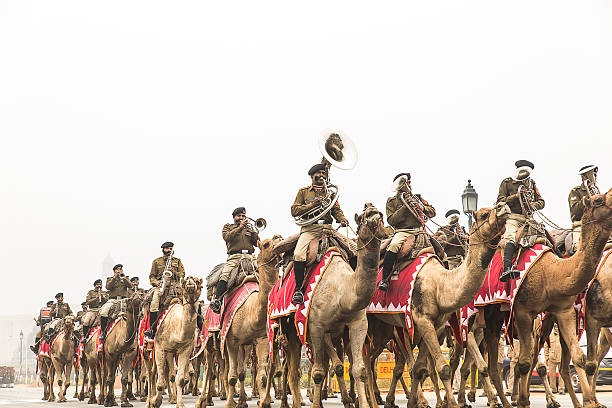 Troops doing rehearsal for upcoming Republic Day Celebration in India stock photo