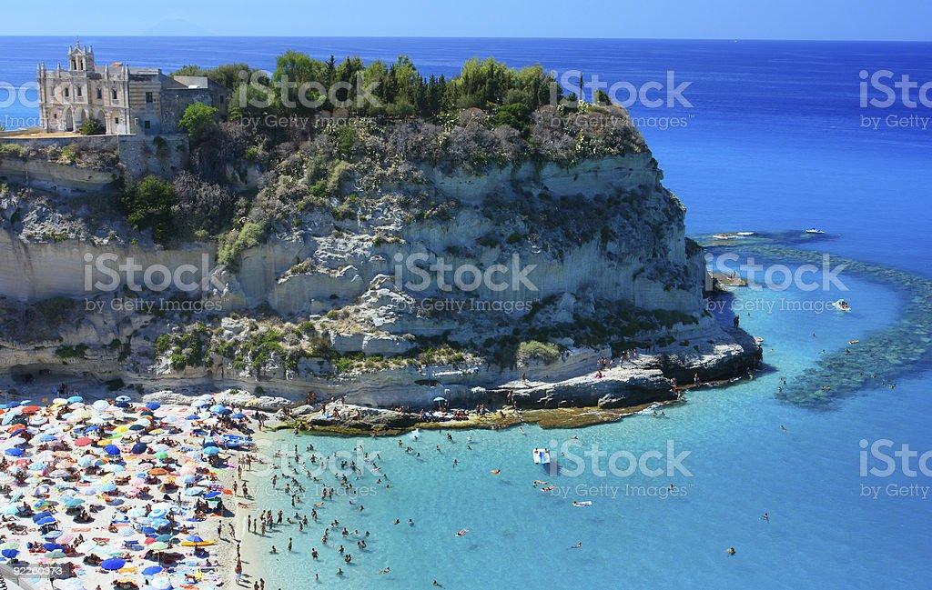 Tropea peninsola with beach stock photo