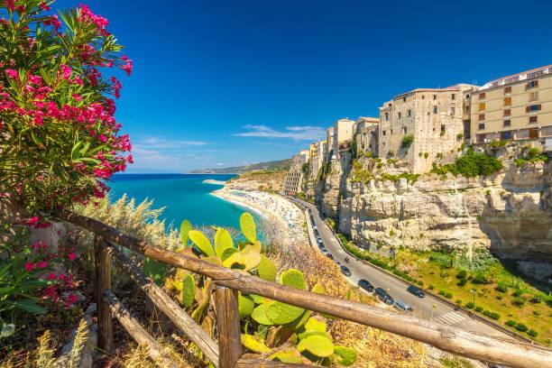 tropea town and beach - calabria, italy. - foto di tropea foto e immagini stock